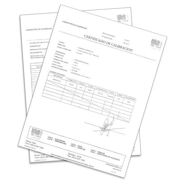 Certificado de calibración de termómetro